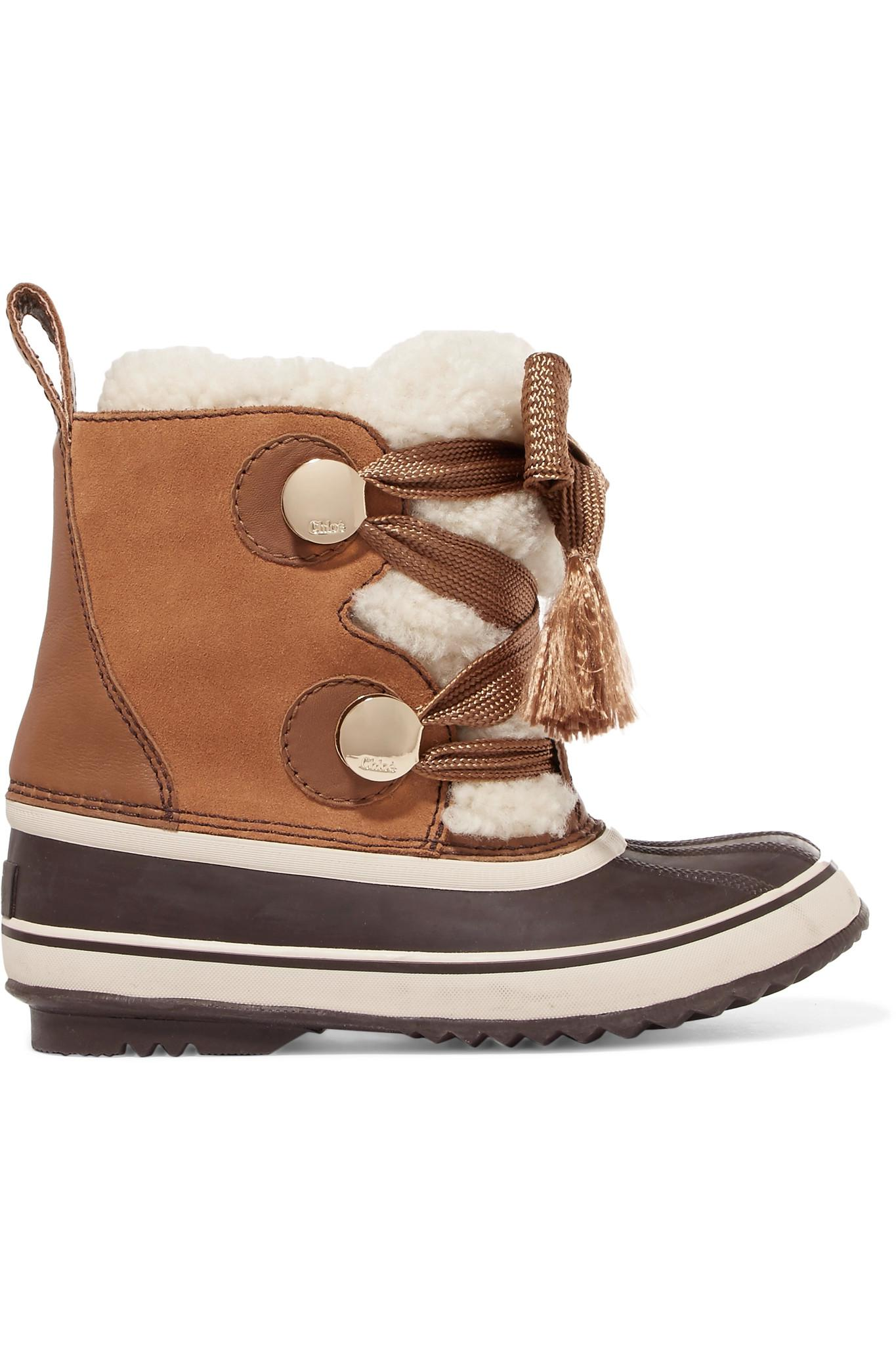 Lyst Chlo 233 Sorel Crosta Leather Trimmed Suede And