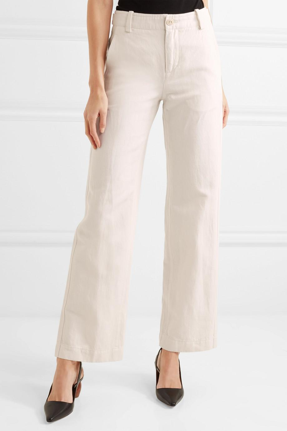 Linen And Cotton-blend Wide-leg Pants - White Vince lAOWYG