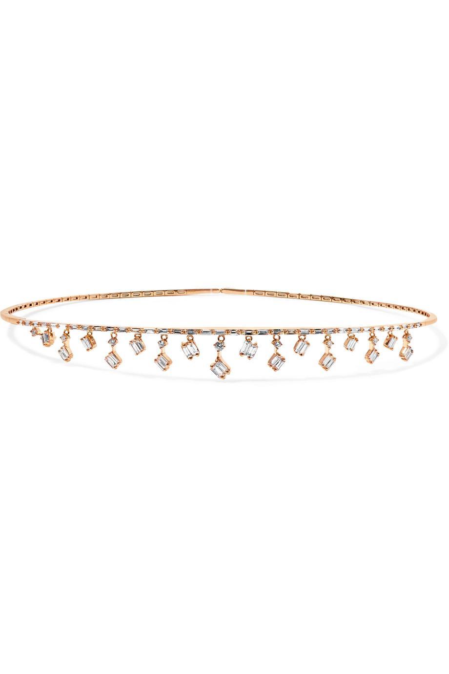 Suzanne Kalan Dangle 18-karat Rose Gold Diamond Choker PEqkixfW
