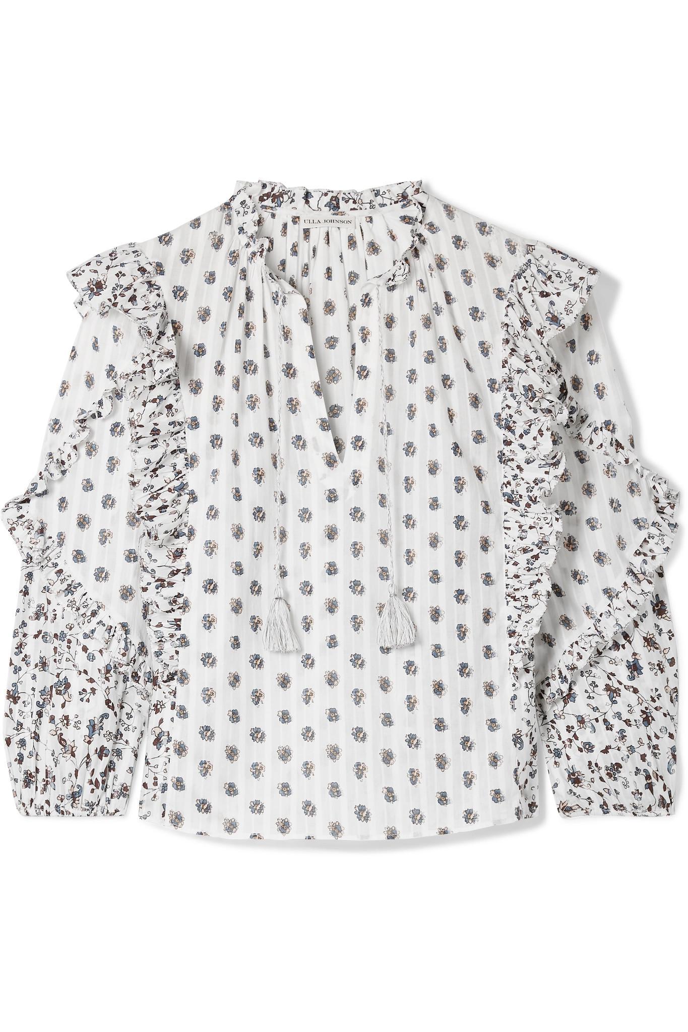 85f3a4d4416e2 Ulla Johnson. Women s Kati Floral-print Cotton-gauze Blouse