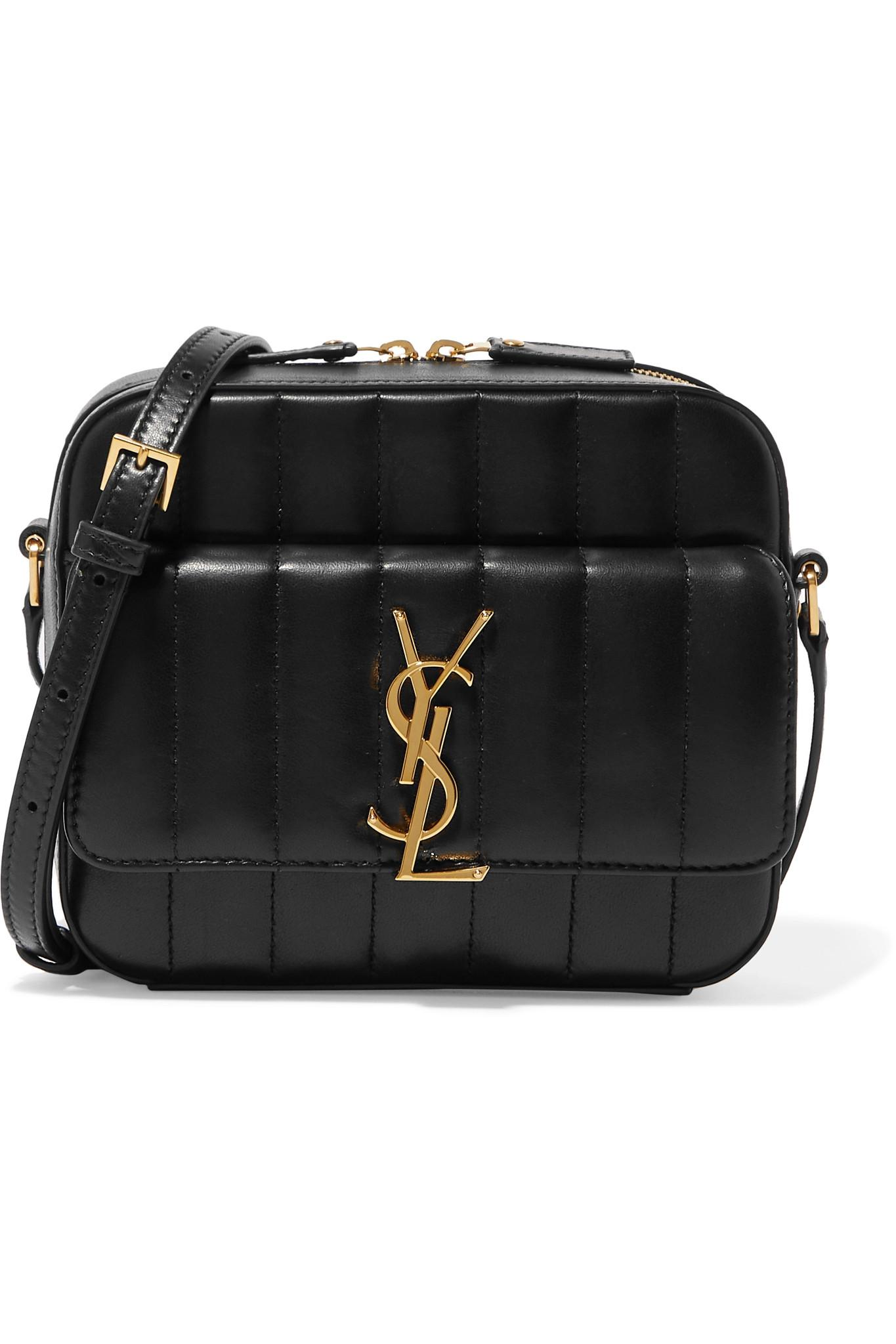 1f0789b0323e Lyst - Saint Laurent Vicky Quilted Leather Camera Bag in Black