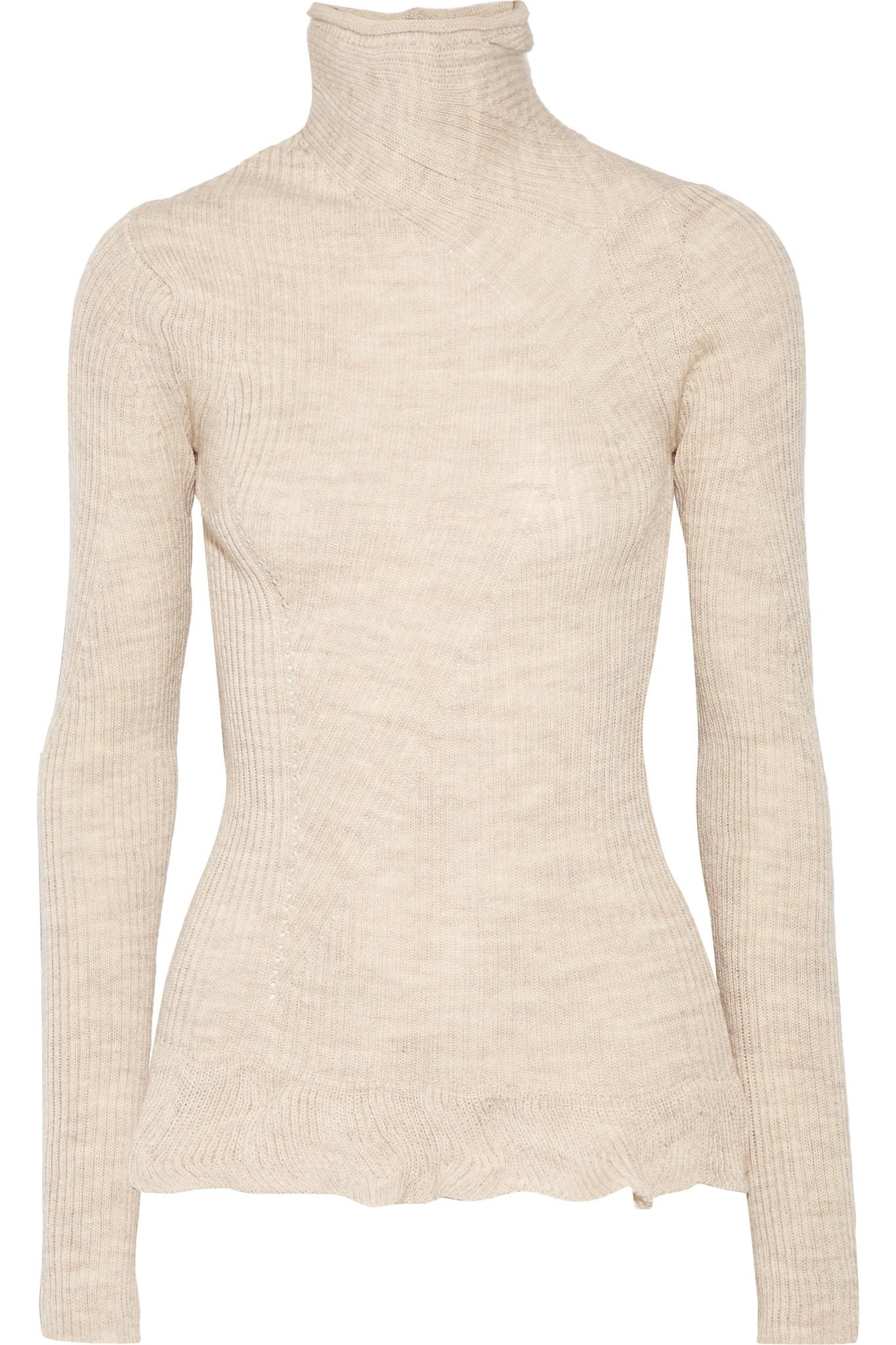 Acne Rosie Paneled Ribbed Merino Wool Turtleneck Sweater | Lyst