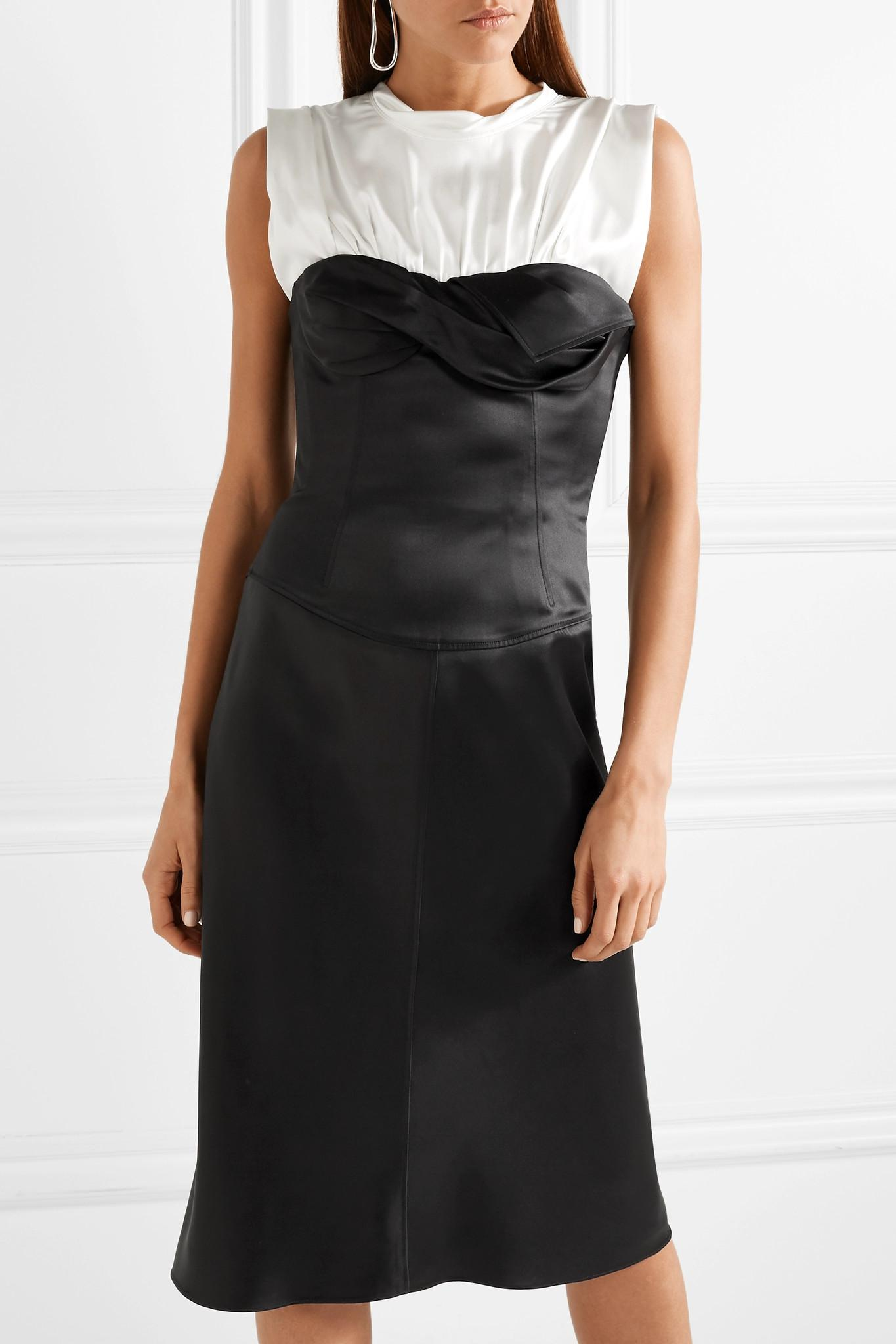 Layered Satin And Silk-blend Dress - Black Alexander Wang FWIrJihAE