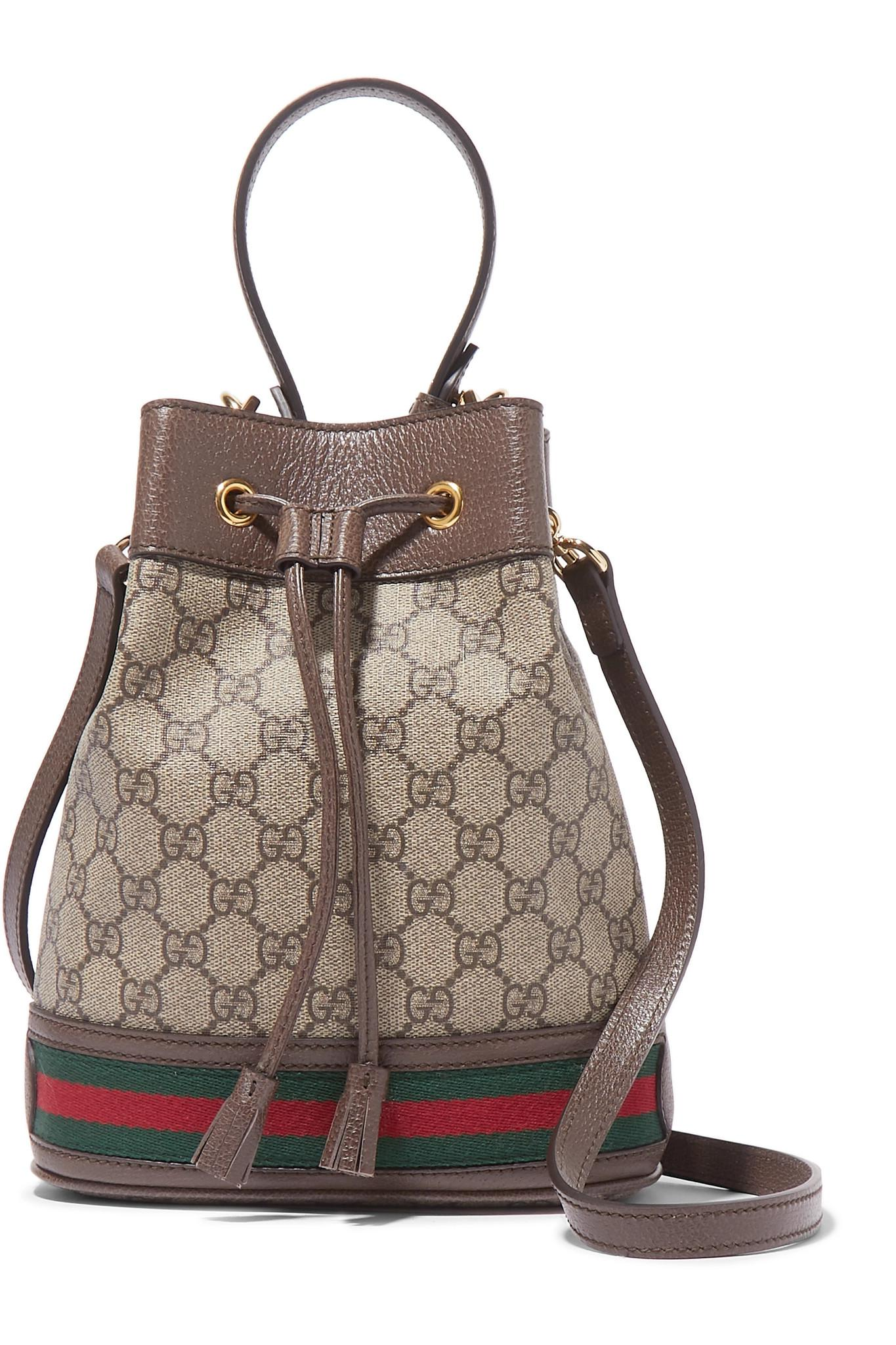8f0435747a Gucci. Women s Brown Ophidia Small Textured Leather-trimmed Printed  Coated-canvas Bucket Bag