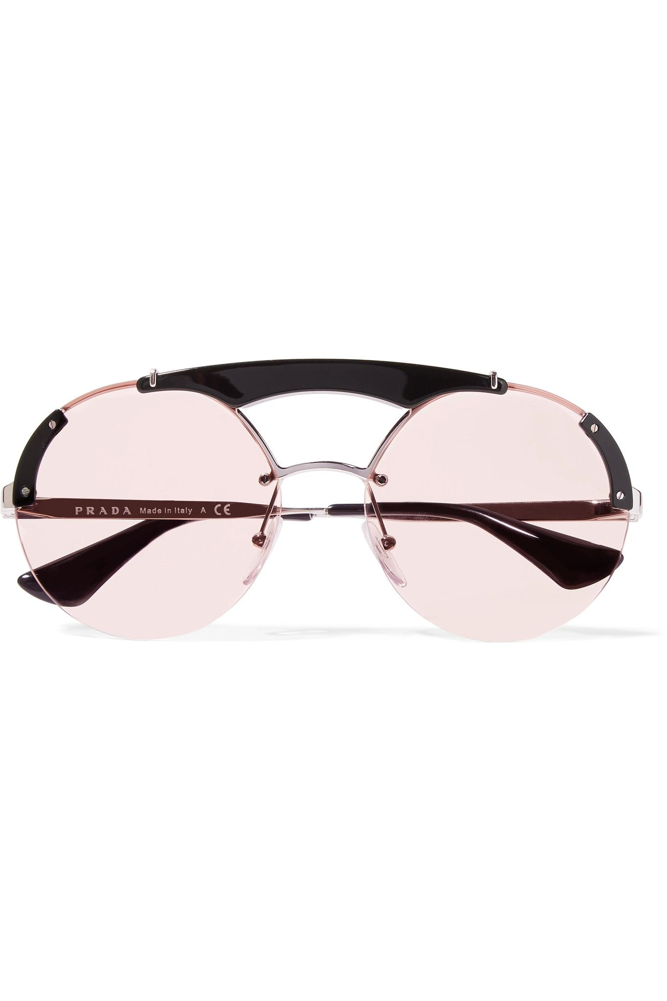c067c58ff33 ... australia prada round frame acetate and silver tone sunglasses in pink  lyst 0cd2d 8fb85