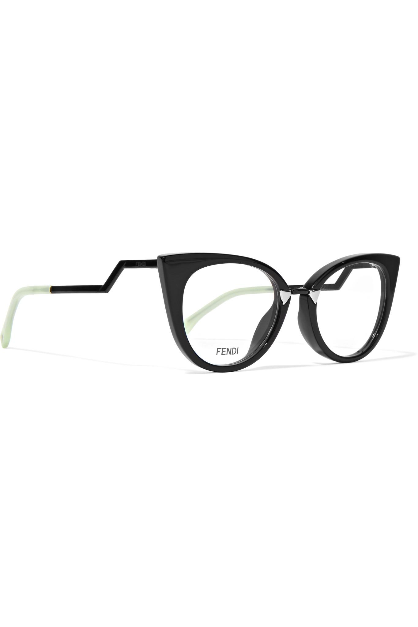 e9ff6fabacd Lyst - Fendi Cat-eye Acetate And Silver-tone Optical Glasses in Black