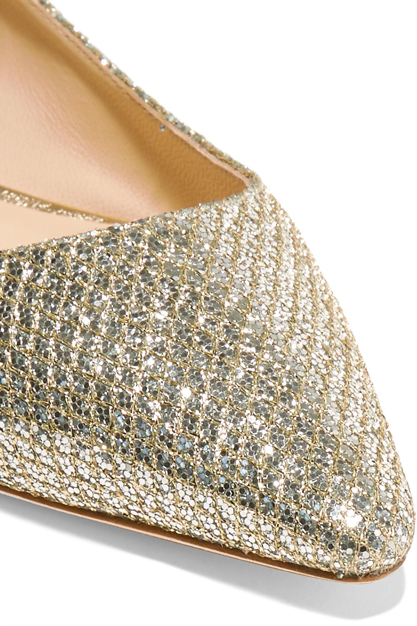 29dc87fe41f5 Jimmy Choo - Metallic Romy Glittered Canvas Point-toe Flats - Lyst. View  fullscreen