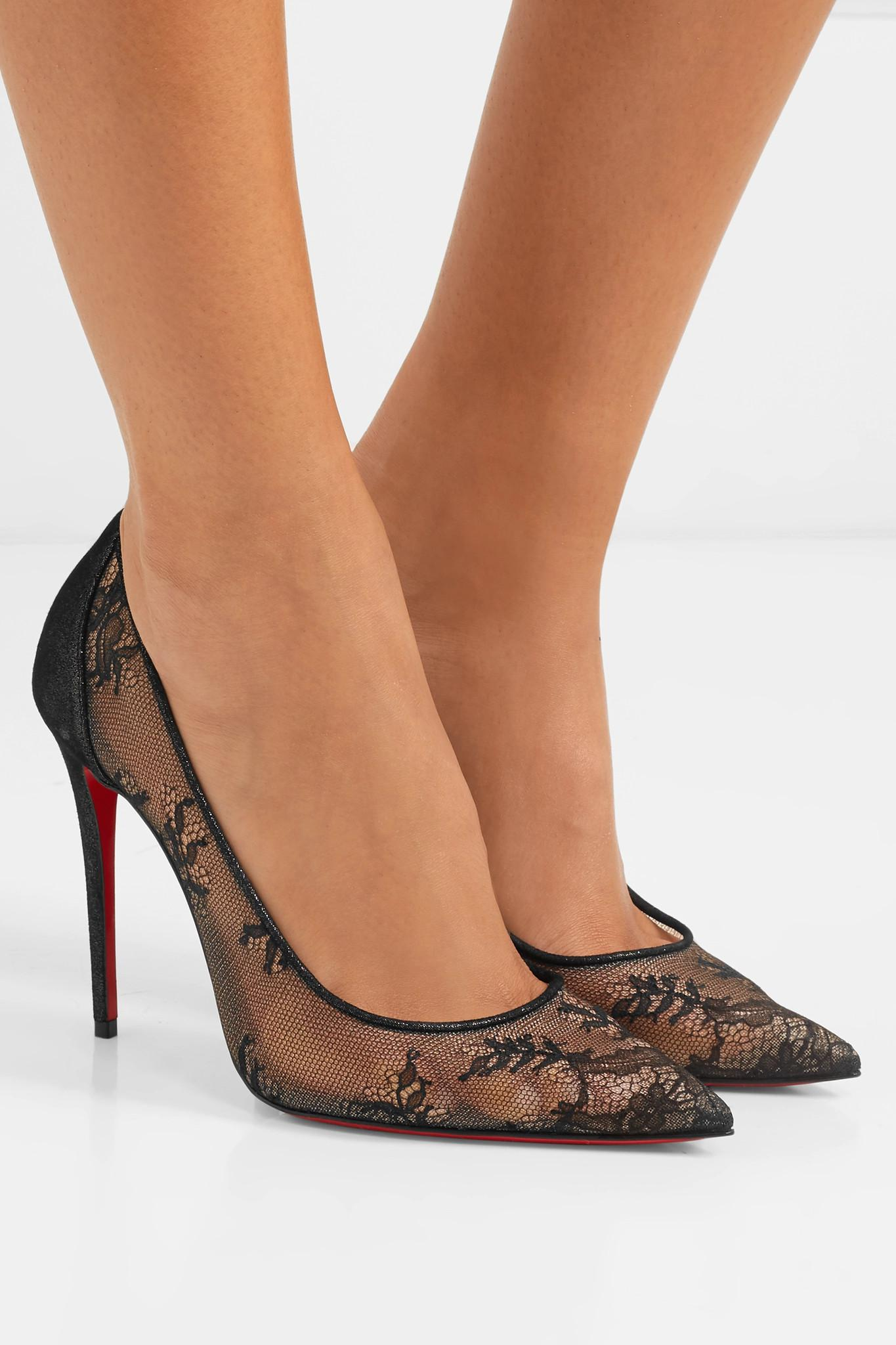 849a68d9aecd Christian Louboutin - Black 554 100 Lace And Lamé Pumps - Lyst. View  fullscreen
