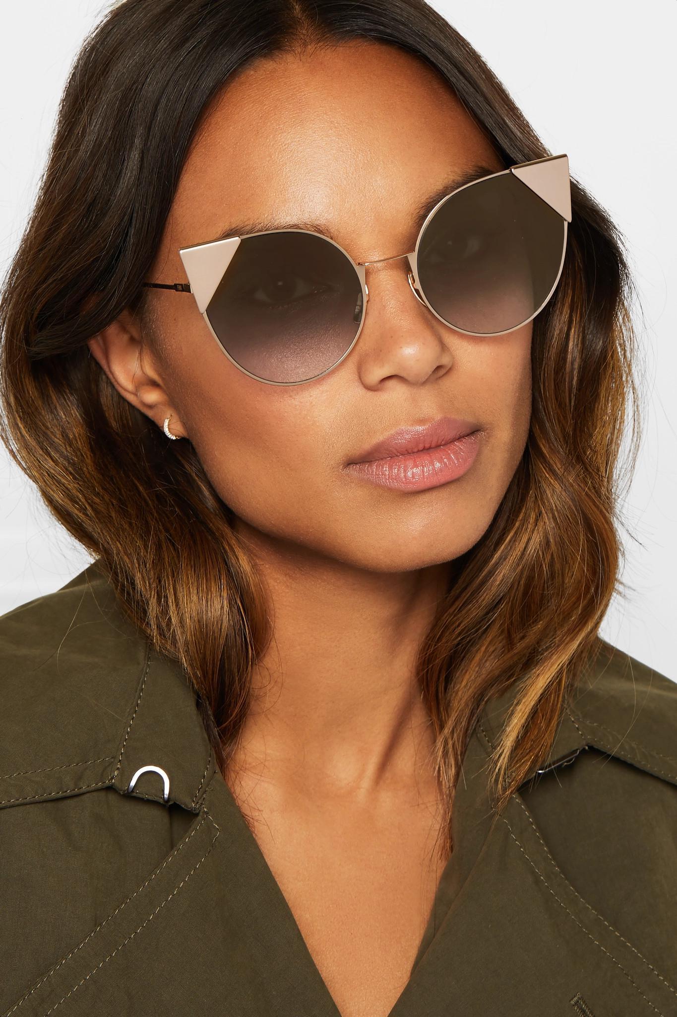a05917a1c Fendi Cat-eye Gold-tone Sunglasses in Metallic - Lyst