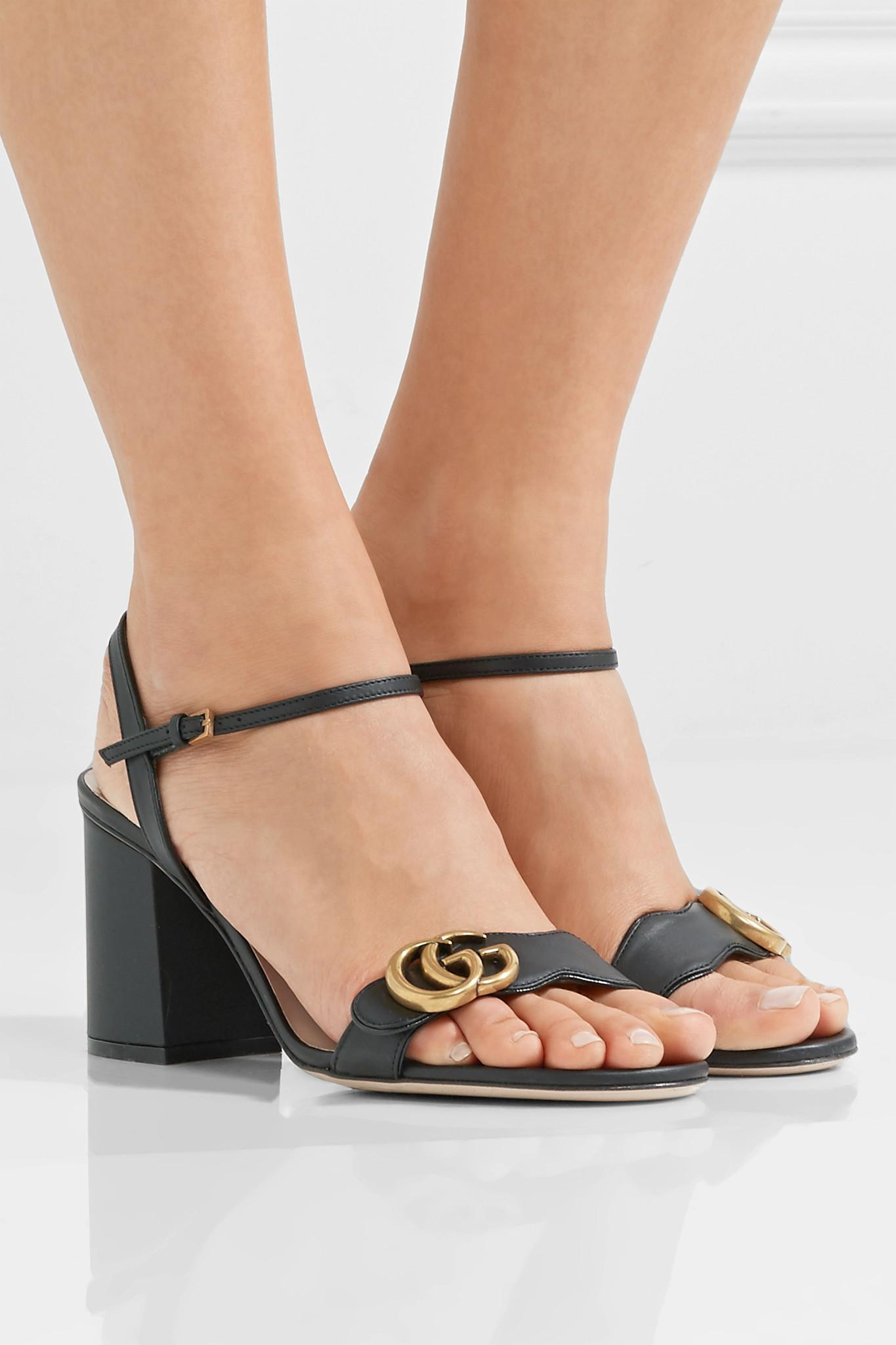 b4d20688b6a Gucci - Black Marmont Embellished Leather Sandals - Lyst. View fullscreen