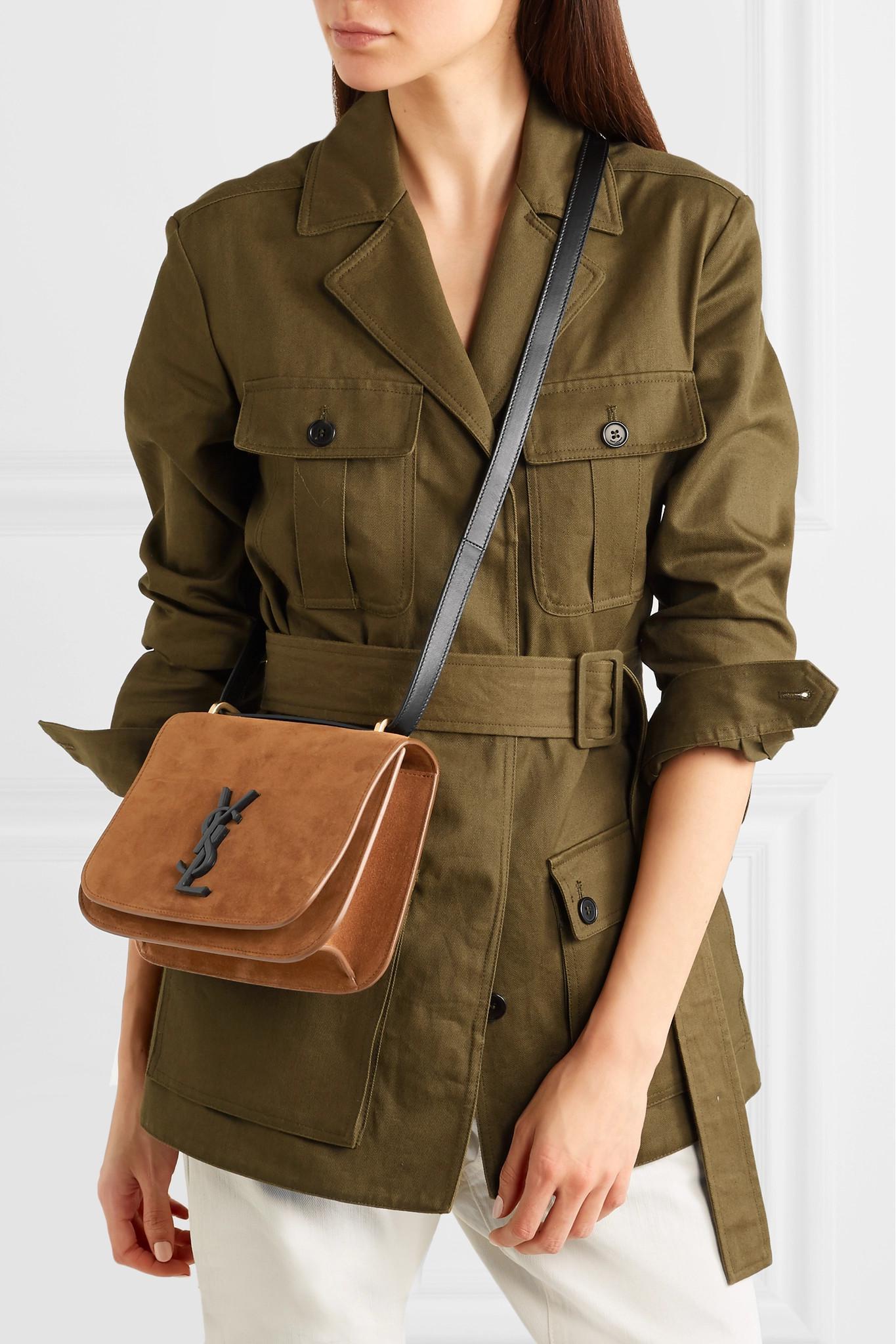 c013df5ade2 Saint Laurent Spontini Leather-trimmed Suede Shoulder Bag - Lyst