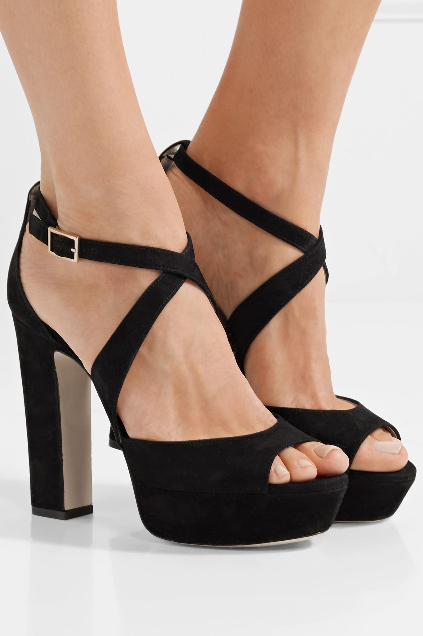 7cb9959168b Jimmy Choo - Black April 120 Suede Platform Sandals - Lyst. View fullscreen