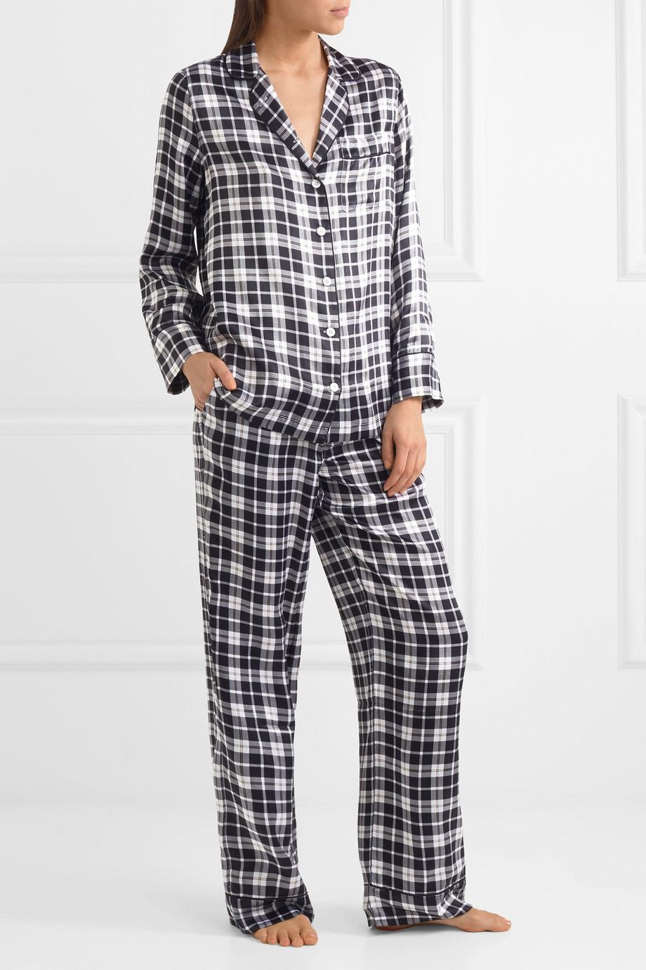 Lyst - Equipment Avery Checked Washed-silk Pajama Set in Black f6e09b5d7