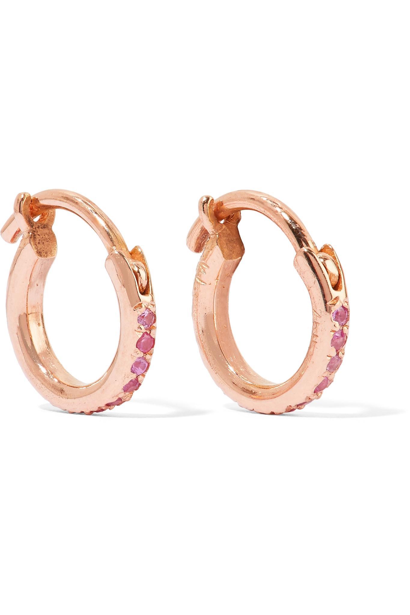 mini rose gold and sapphire hoops Ileana Makri FeaG0O