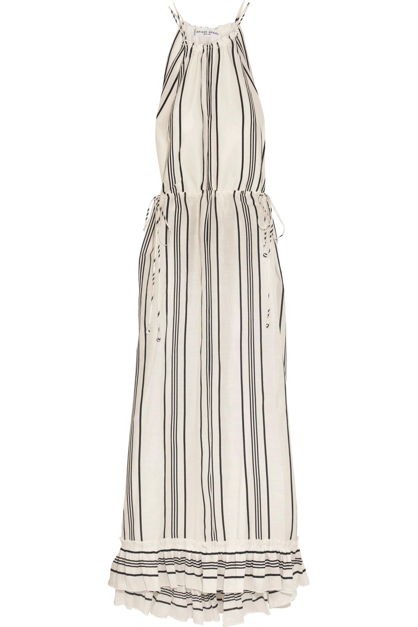 Himalaya Striped Linen And Silk-blend Maxi Dress - White Apiece Apart n9OcF