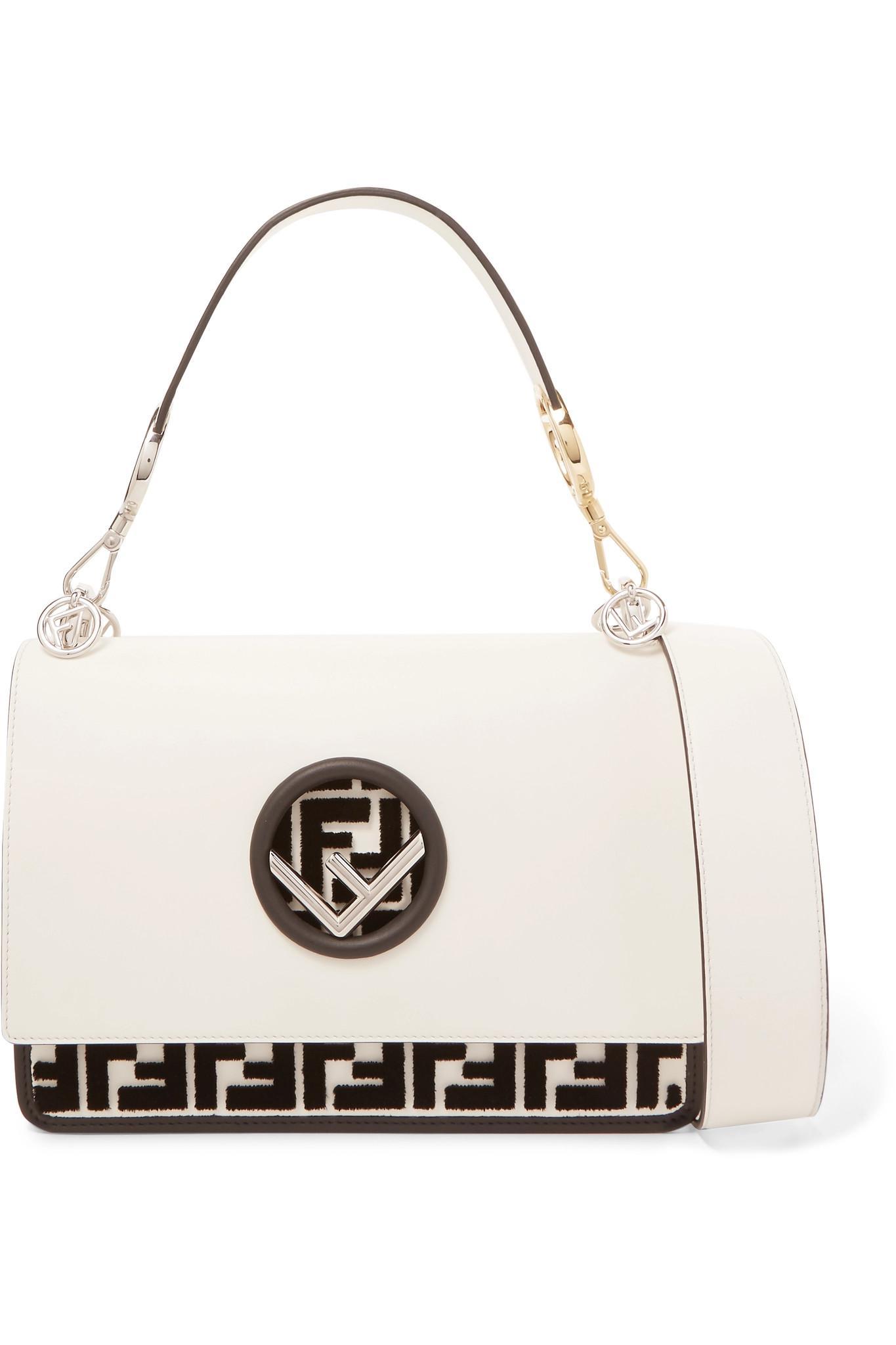 Fendi Kan I Flocked Leather Shoulder Bag in White - Lyst 93d09860e4021