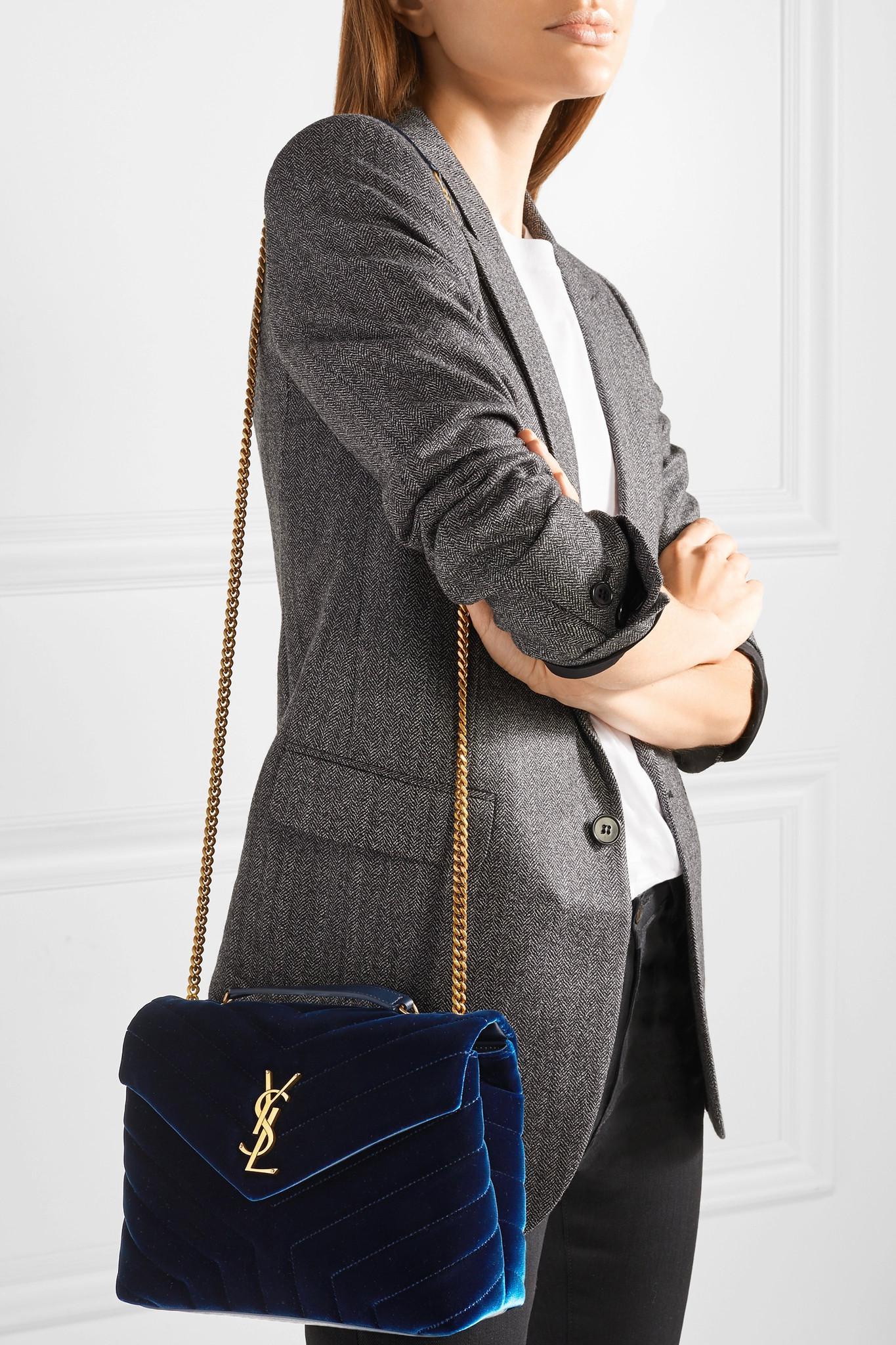 d129e19219be Lyst - Saint Laurent Loulou Small Quilted Velvet Shoulder Bag in Blue
