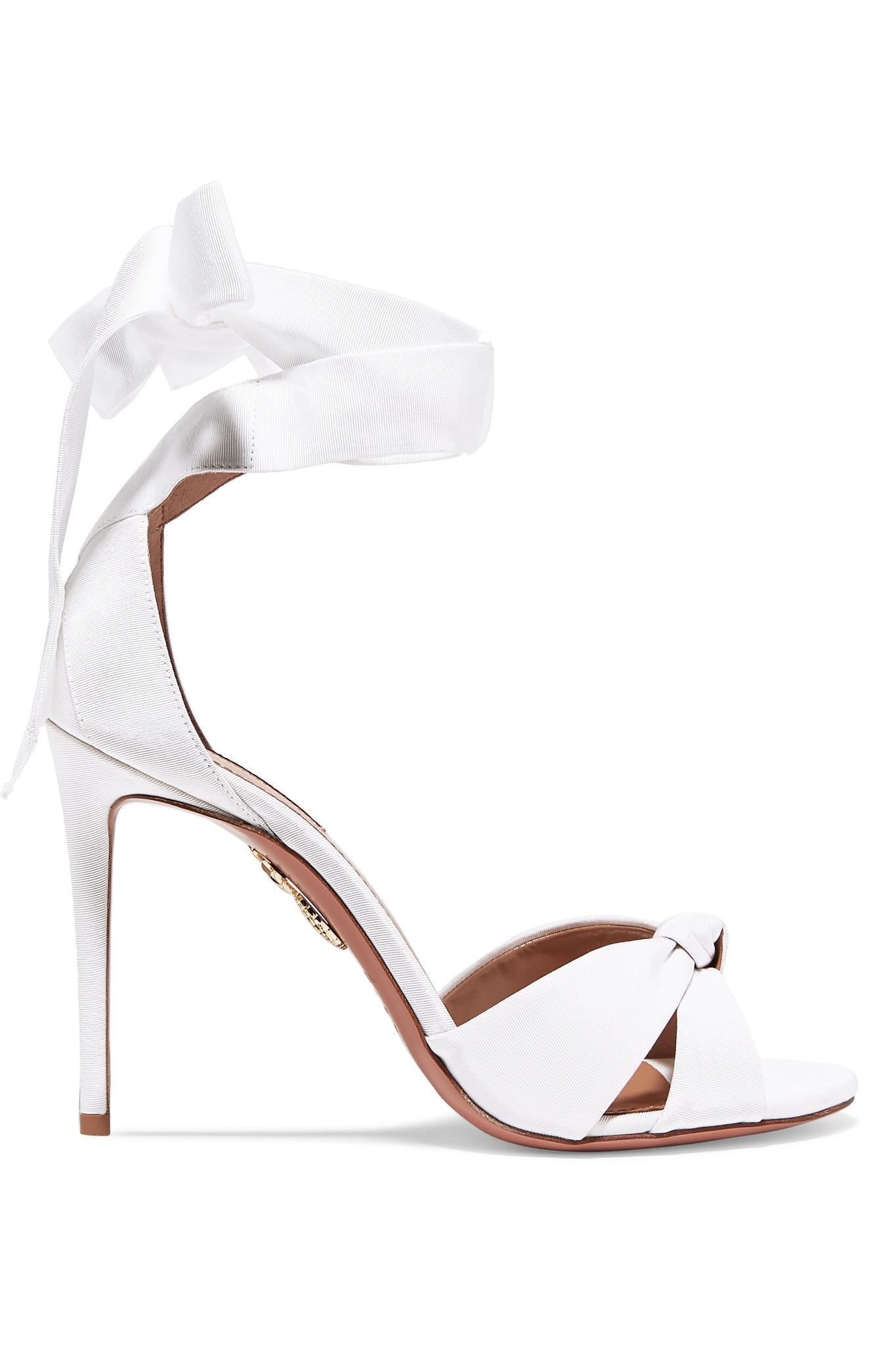 3575f36783c7 Aquazzura All Tied Up Grosgrain Sandals in White - Lyst