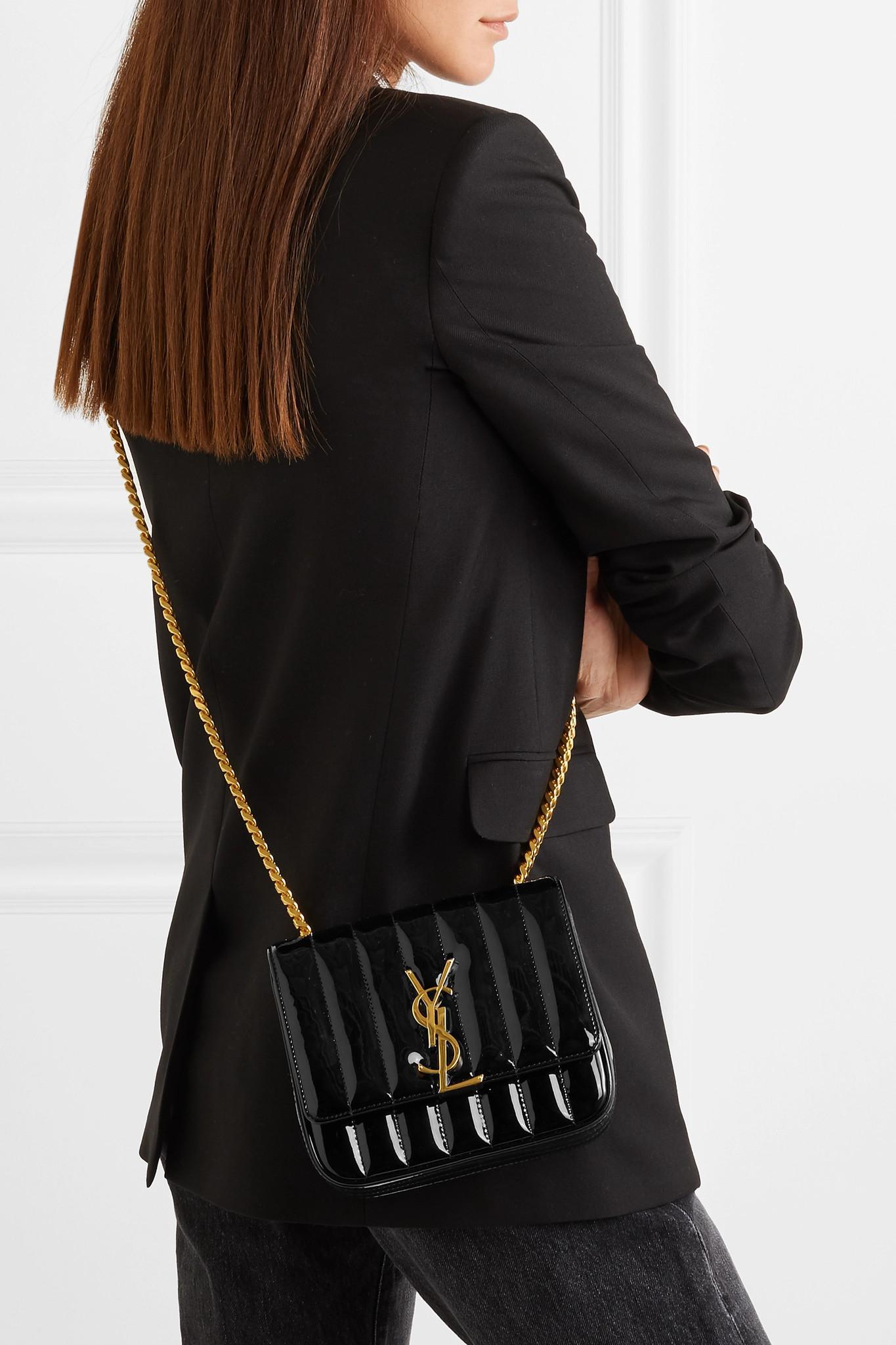 904f06b9cd7 Saint Laurent - Black Monogram Vicky Medium Leather Chain Bag - Lyst. View  fullscreen