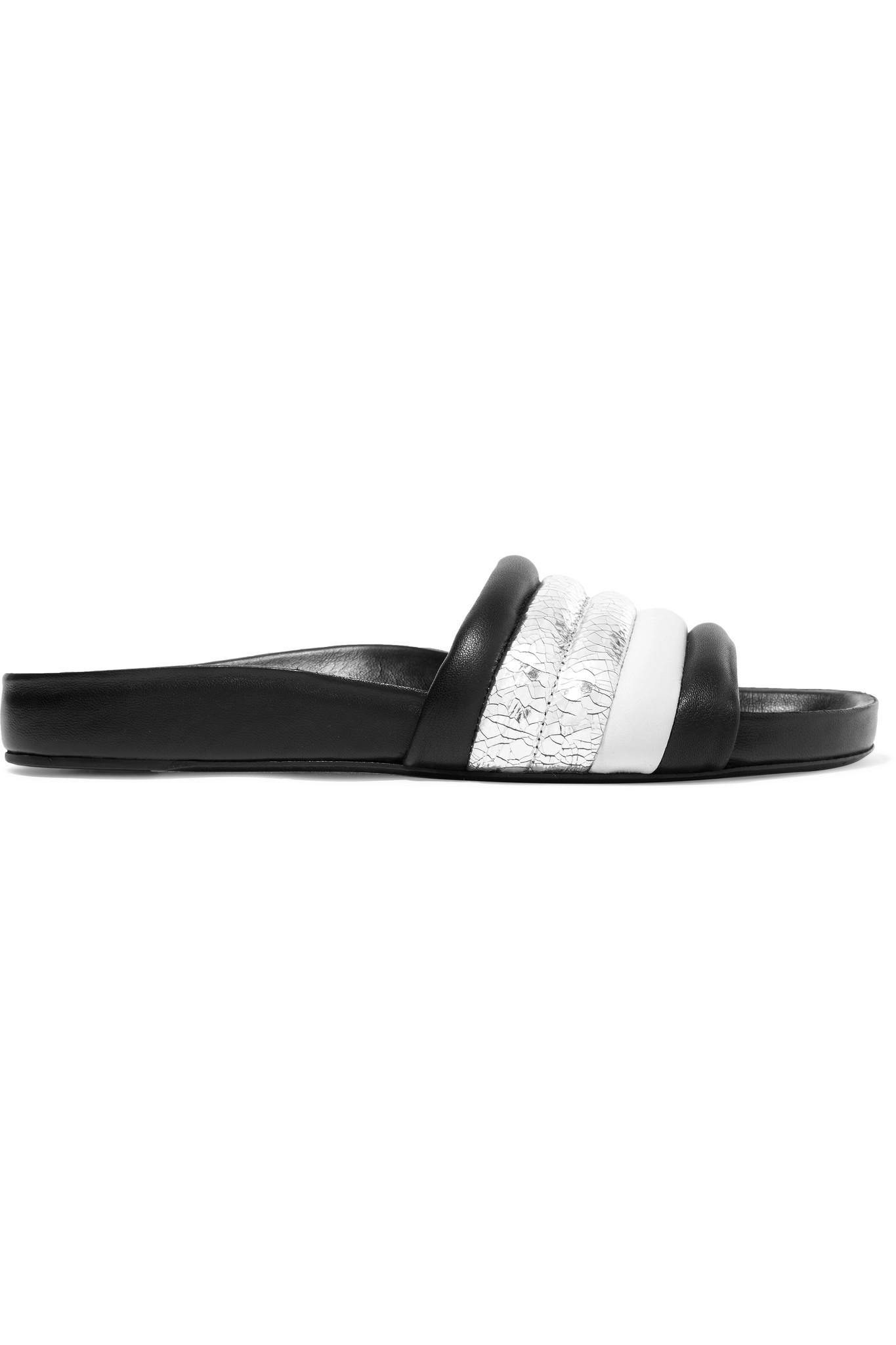 New Sale Online Free Shipping Low Price Fee Shipping Isabel Marant Hellea Smooth And Cracked Mirrored-leather Slides u3lo1