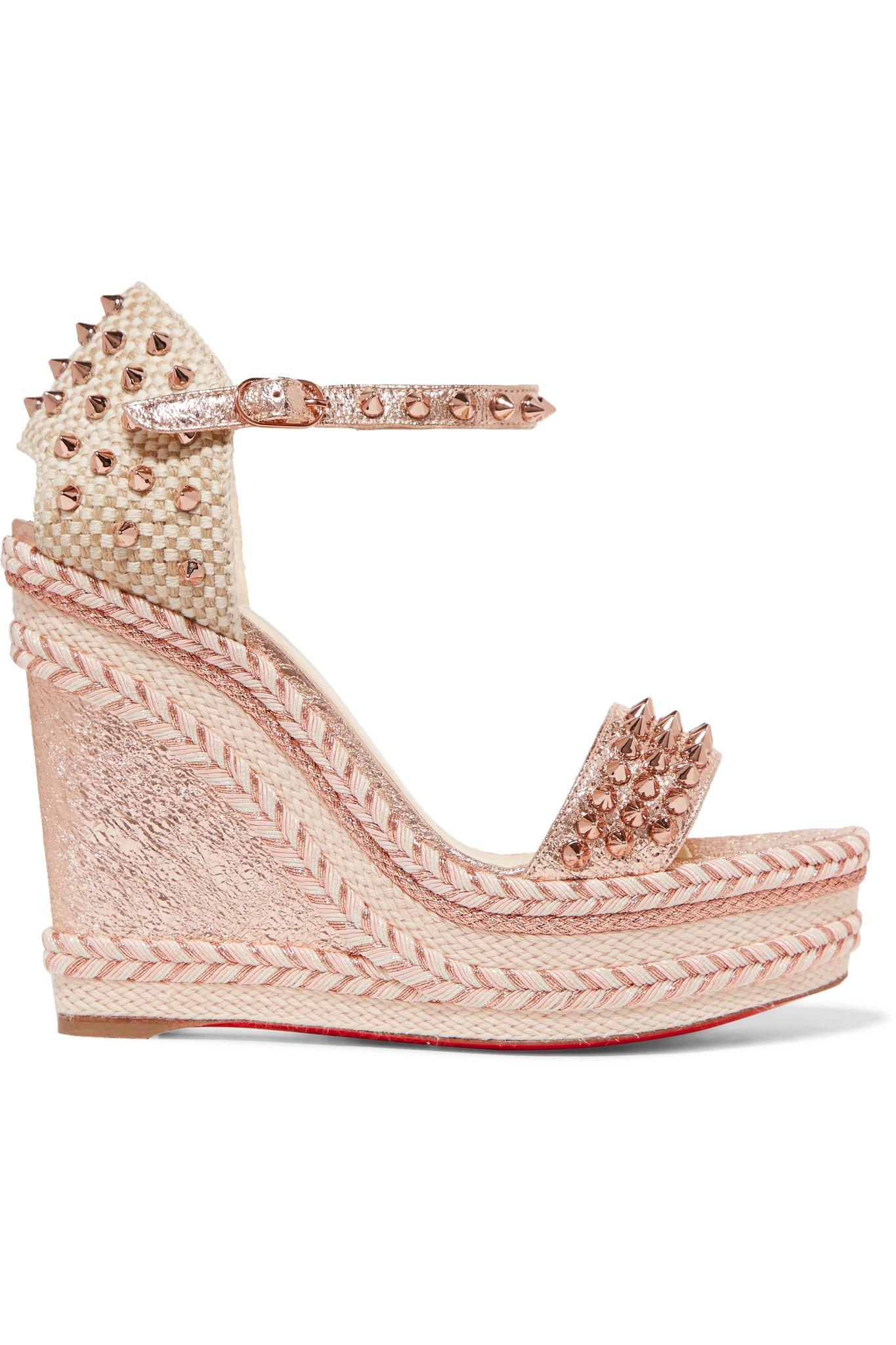 Christian Louboutin. Women's Pink Madmonica 120 Spiked Metallic  Cracked-leather Espadrille Wedge Sandals