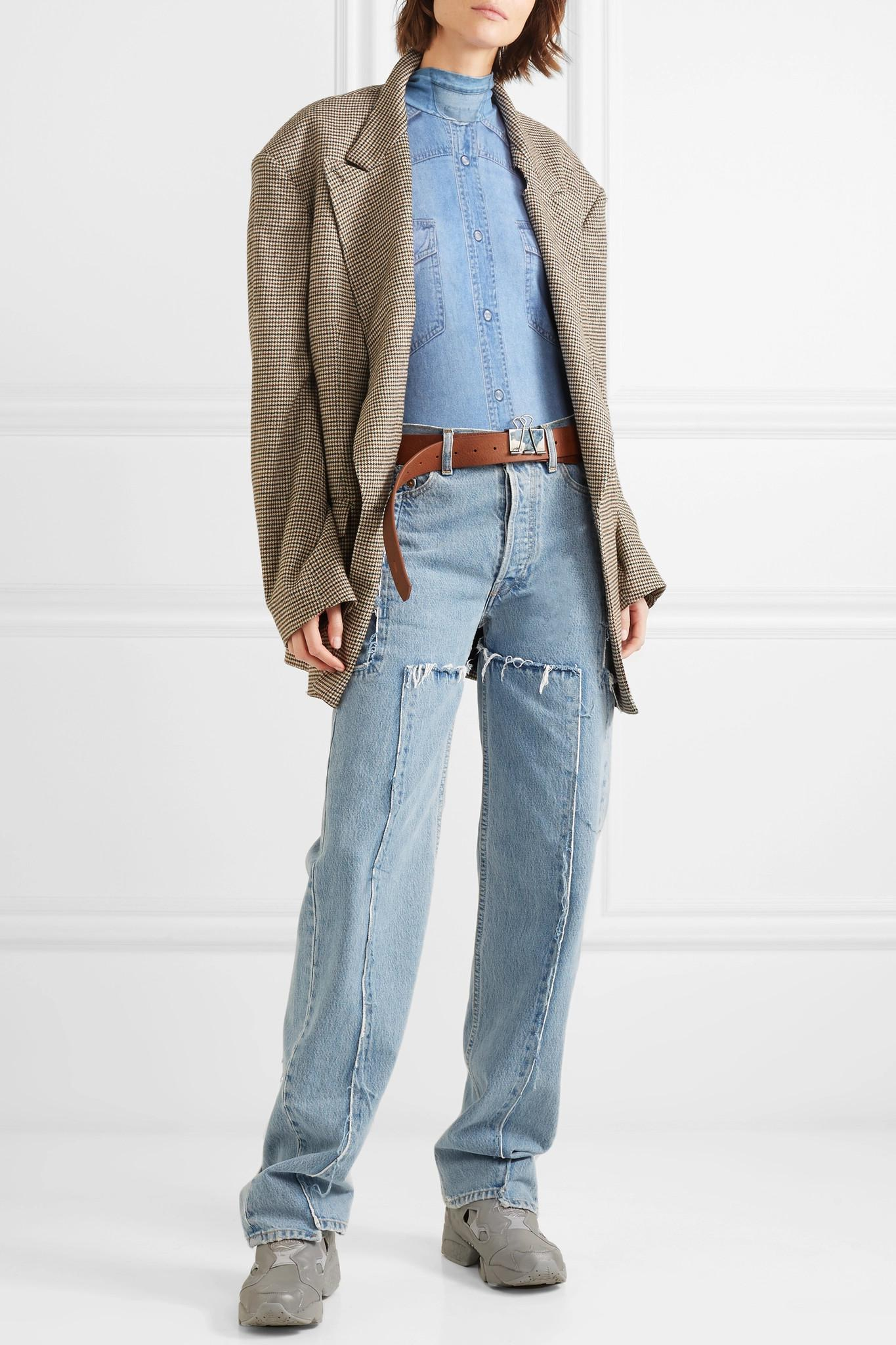6490161df58 Vetements - Blue Printed Two-tone Stretch-cotton Jersey Bodysuit - Lyst.  View fullscreen
