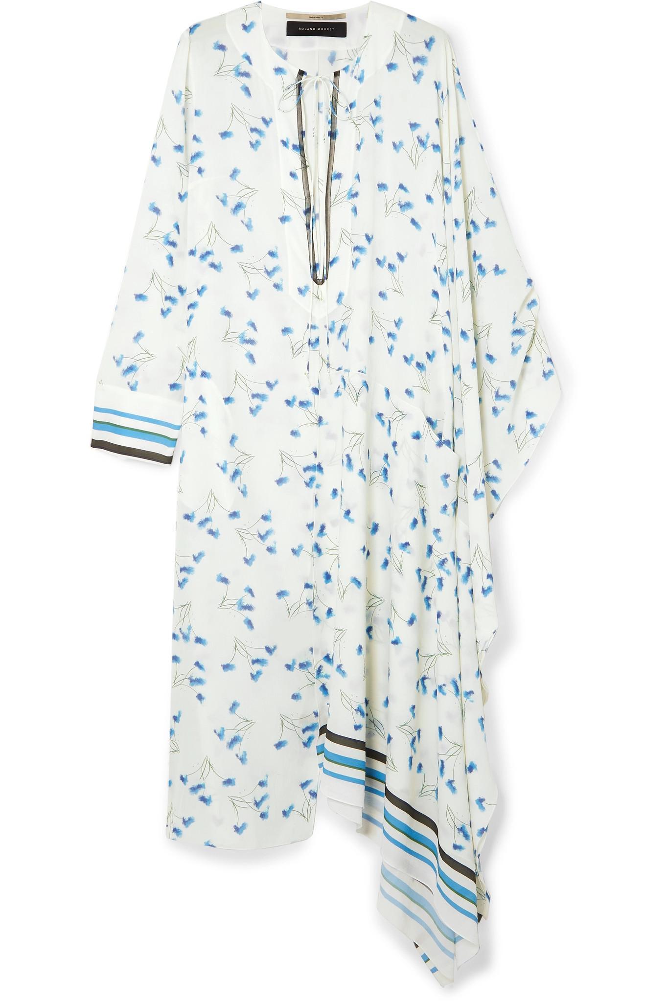 2f0dfa9b90 Lyst - Roland Mouret Damon Mesh-trimmed Printed Crepe Dress in Blue