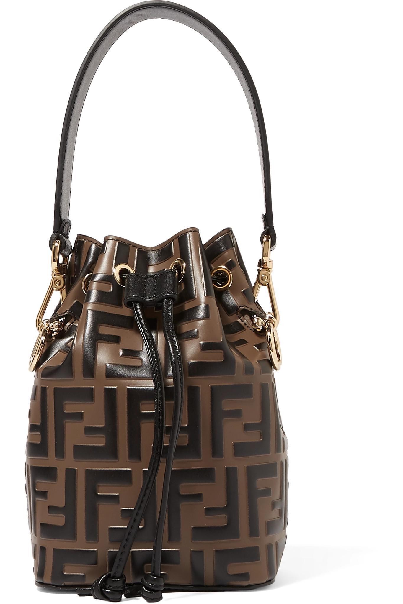 Fendi Mon Trésor Mini Embossed Leather Bucket Bag in Brown - Lyst fe2efb8335ab4
