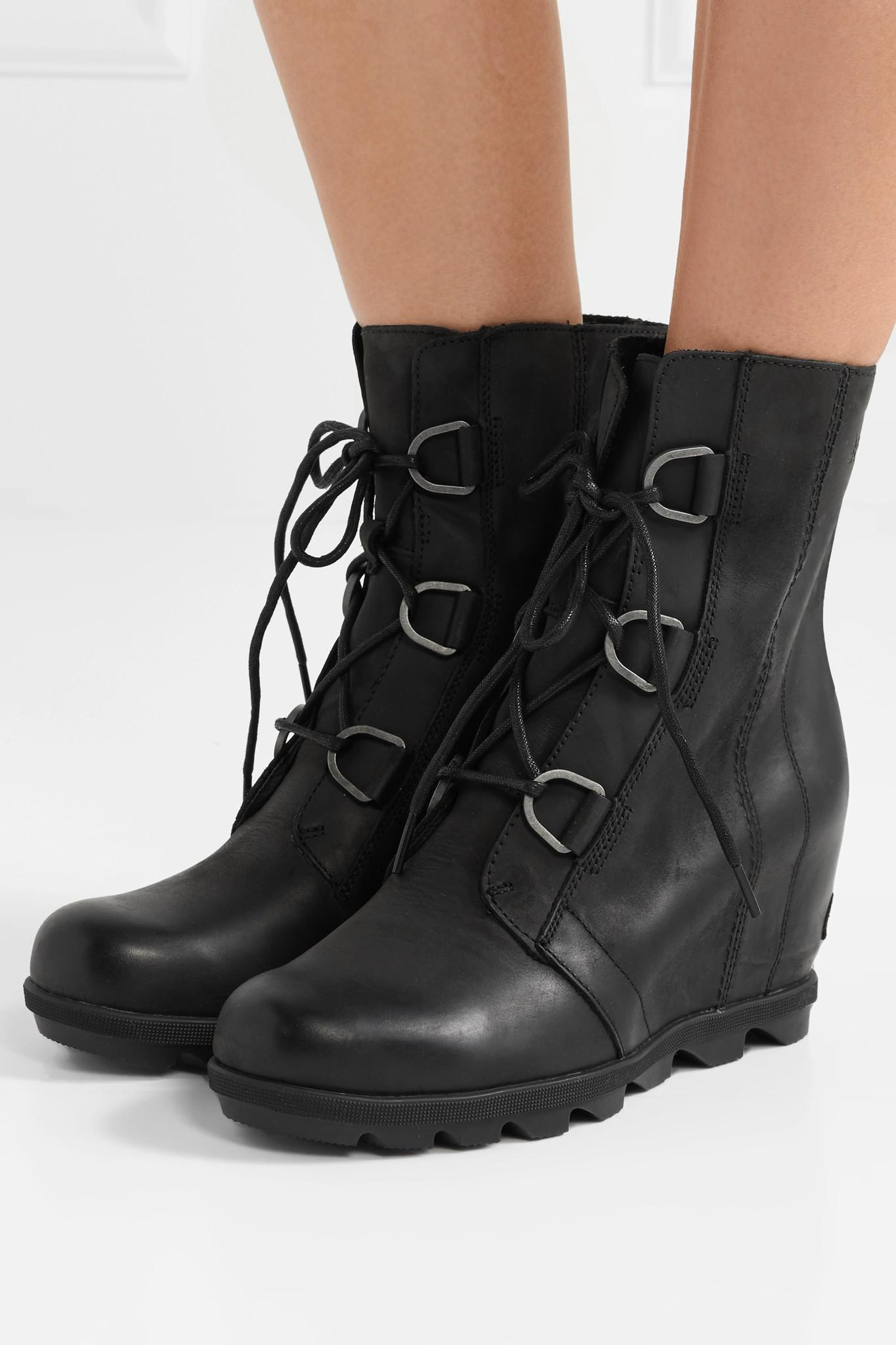 ea4a46355d6f Sorel - Black Joan Of Arctic Wedge Ii Waterproof Leather And Rubber Ankle  Boots - Lyst. View fullscreen