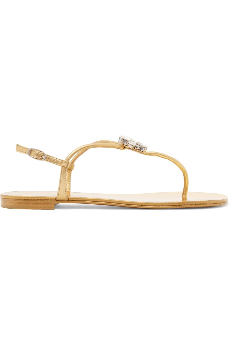 Nuvorock Crystal-embellished Metallic Leather Sandals - Gold Giuseppe Zanotti Clearance Online Ebay Outlet Clearance Discounts New Arrival Sale Online X3bTWL1h