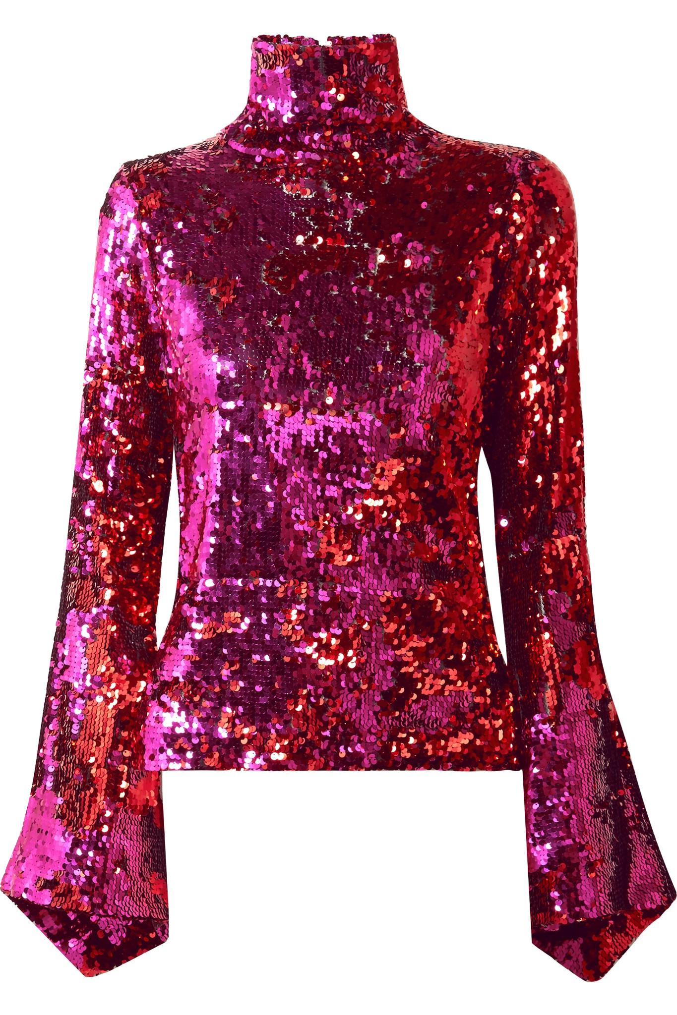a06ab3ac7ebe5 Lyst - Halpern Sequined Tulle Turtleneck Top in Pink - Save 70%