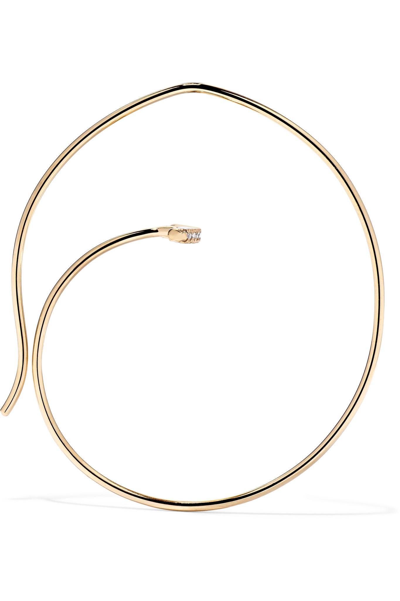 Lyst Hirotaka 10 Karat Gold Diamond Hoop Earring In Metallic