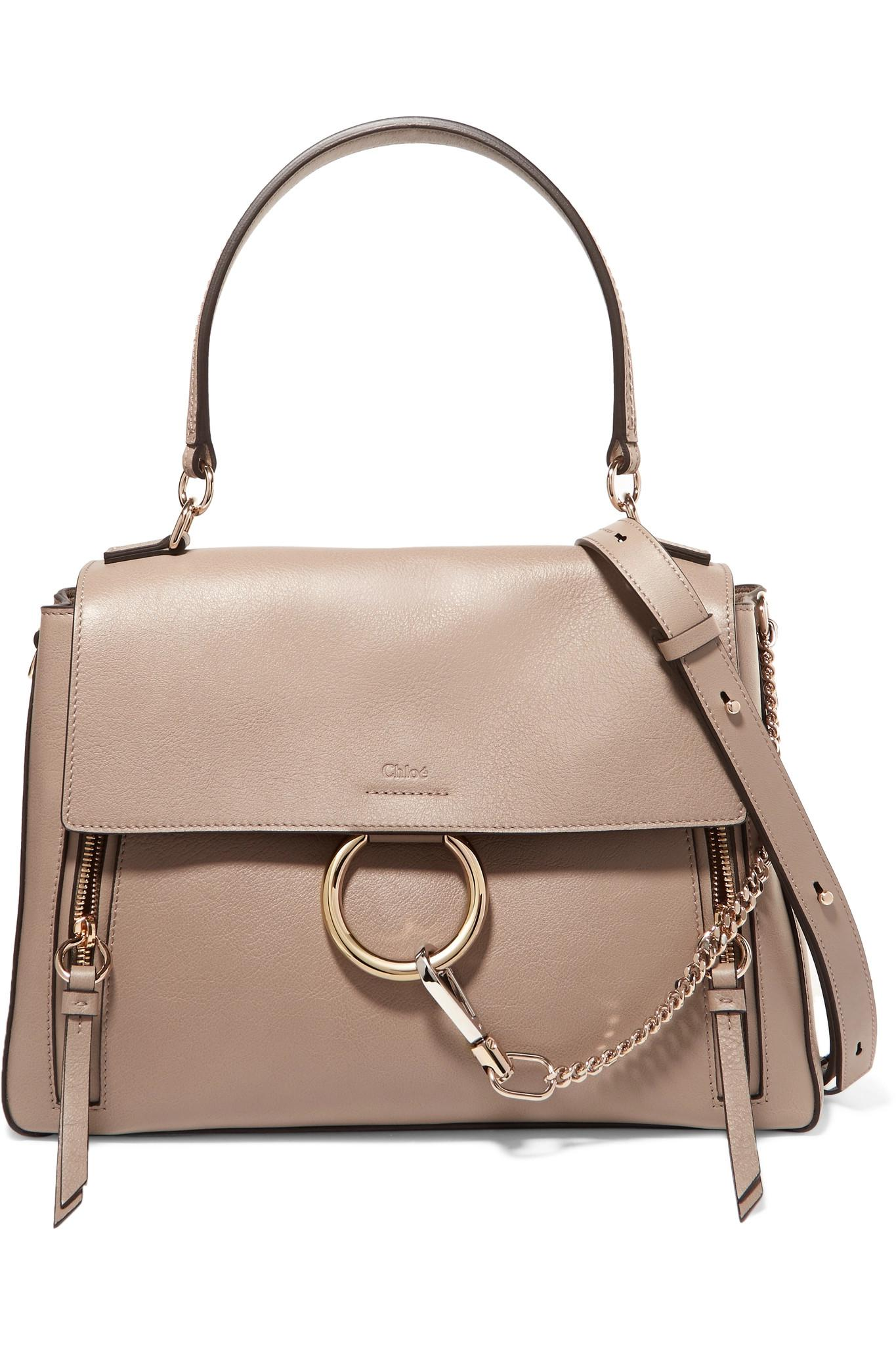 Collections Sale Supply Faye Day Large Textured-leather Shoulder Bag - Gray Chloé For Sale Online OjaMS