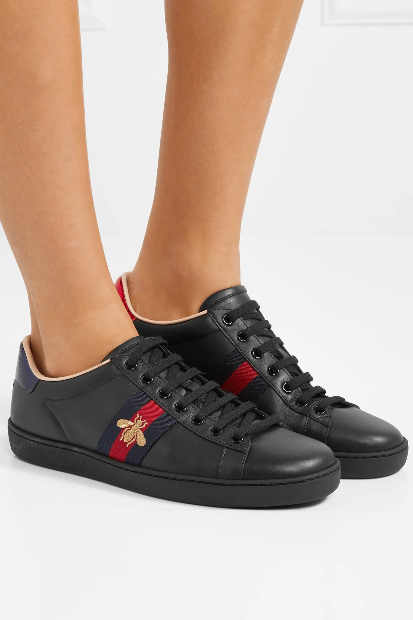 1fdb5edd891 Gucci - Black Ace Watersnake-trimmed Embroidered Leather Sneakers - Lyst.  View fullscreen