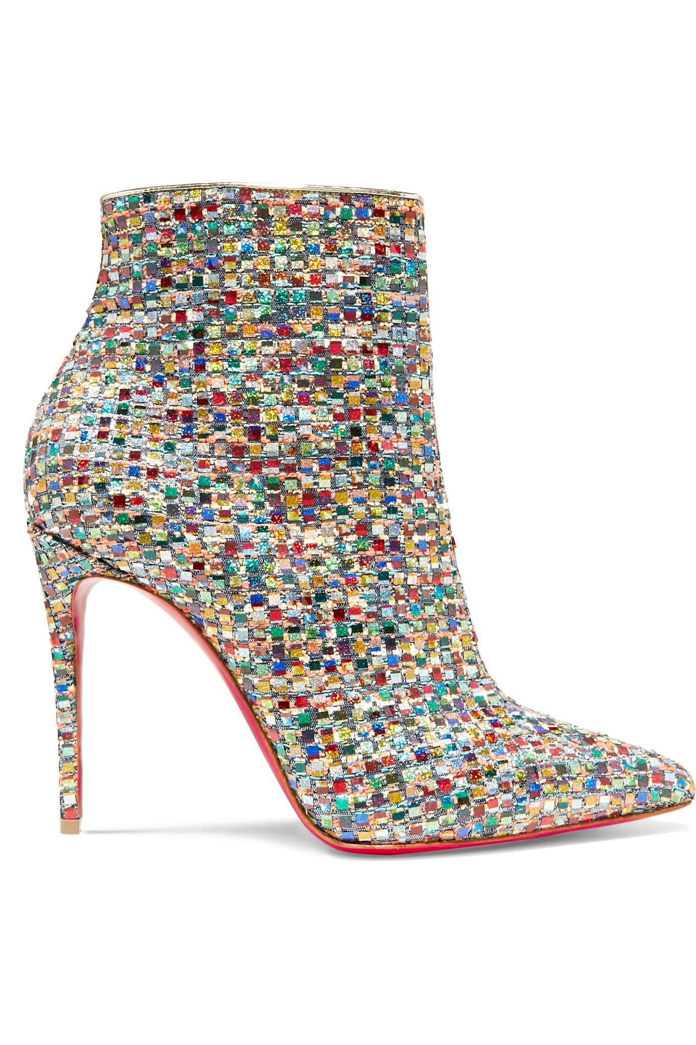 05811ca0f11 Christian Louboutin. Women s Metallic So Kate 100 Embellished Tweed Ankle  Boots
