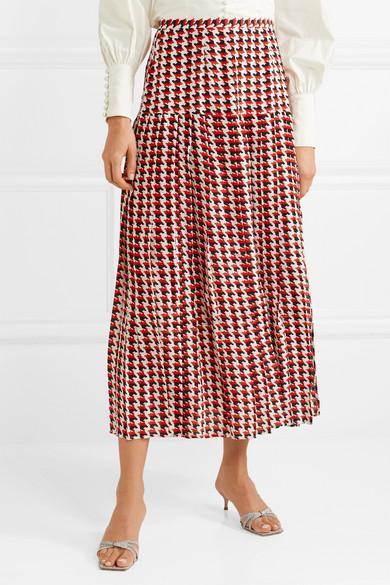 3cd9bb25b3 RIXO London Tina Pleated Houndstooth Silk Crepe De Chine Midi Skirt ...