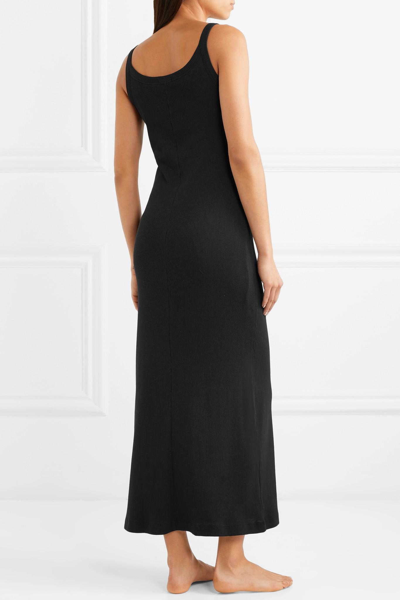Choice Cheap Price Zena Ribbed Pima Cotton-jersey Nightdress - Black Skin Discount Finishline CaDZ4wEqx