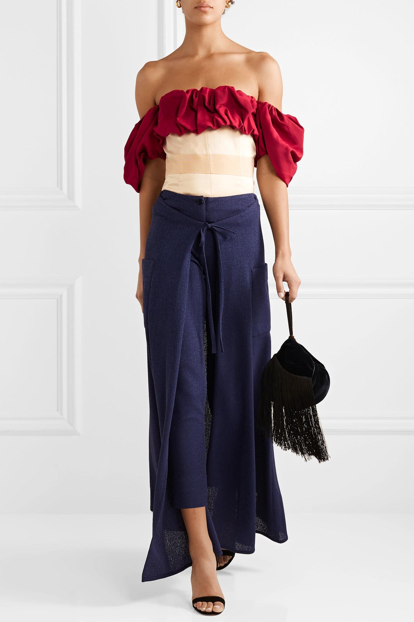 4635dae45248 ... Off-the-shoulder Ruffled Paneled Jacquard Blouse - Lyst. View fullscreen