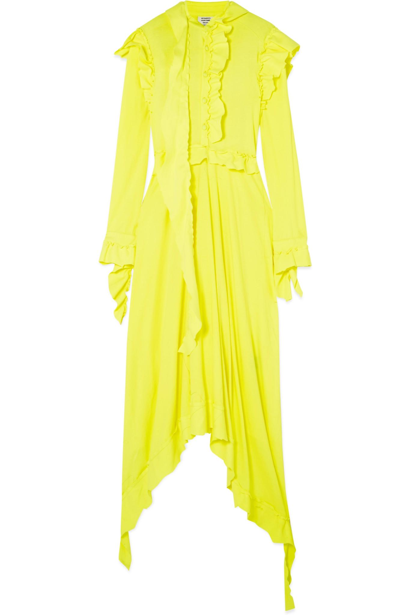 Ruffled cotton dress VETEMENTS Comfortable Online Cheap Footlocker Pictures Sale Deals G3VRYlA1yt