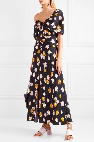 ddd52f9f053f Self-Portrait - Black Off-the-shoulder Floral-print Satin Maxi Dress. View  fullscreen
