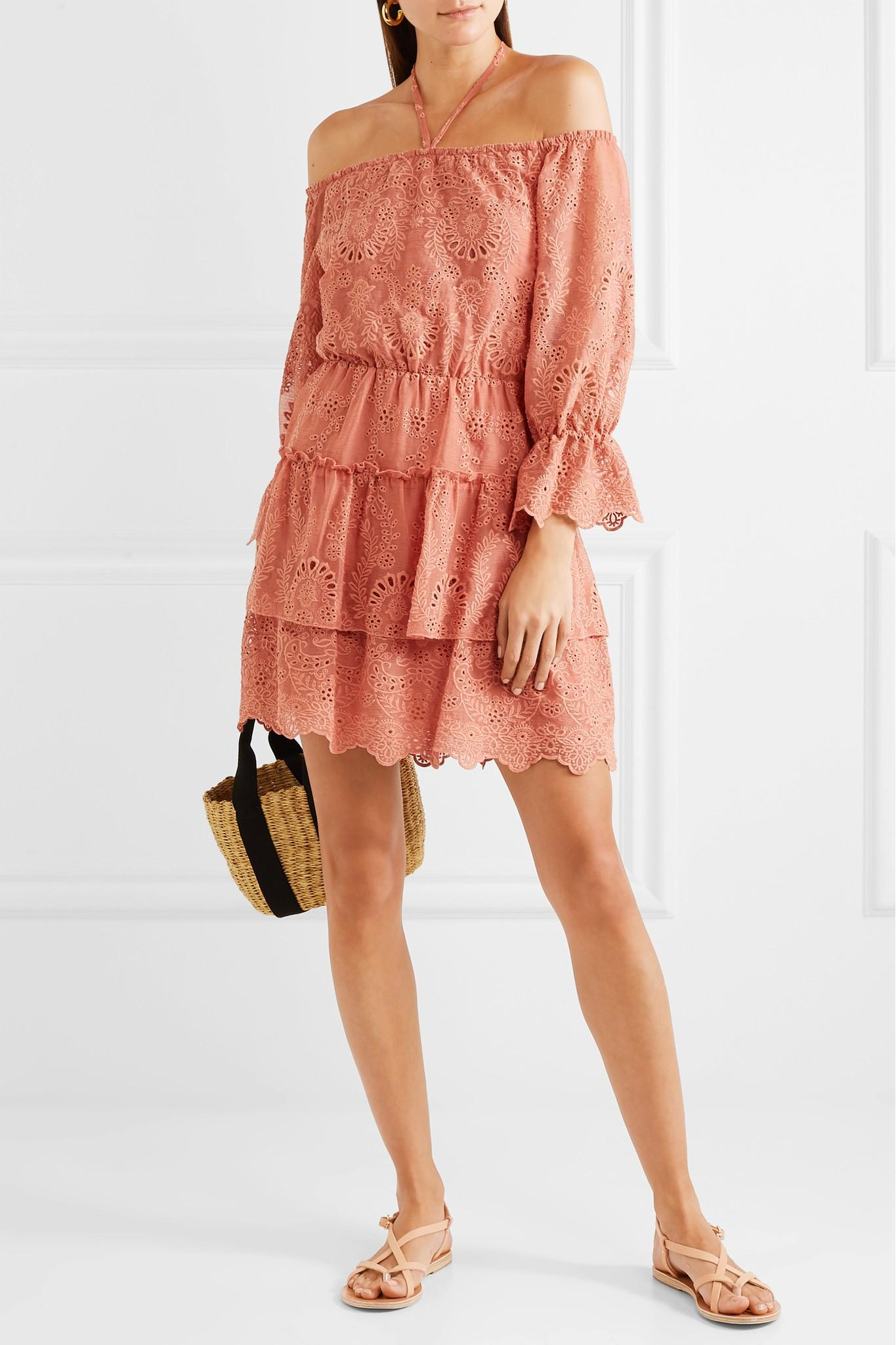 Wide Range Of Sale Online Classic Waylon Broderie Anglaise Chiffon Mini Dress - Pink Alice & Olivia oKUvkN14EV