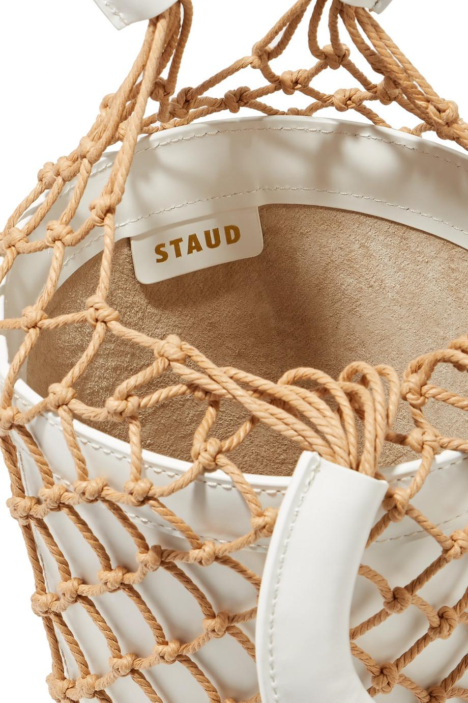 5b60b9a20 STAUD Moreau Macramé And Leather Bucket Bag in White - Lyst