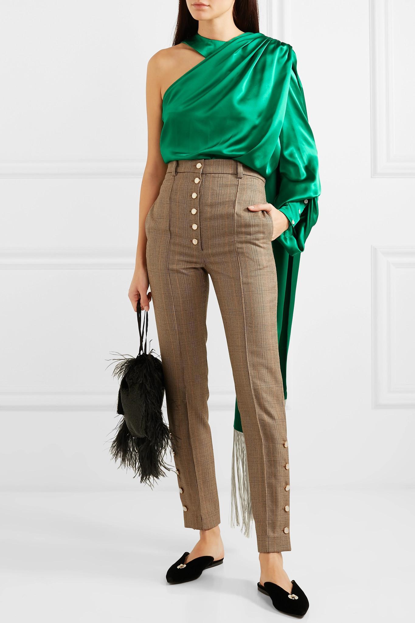 7118cf39a9d5e Hillier Bartley - Green One-shoulder Draped Silk-satin Blouse - Lyst. View  fullscreen
