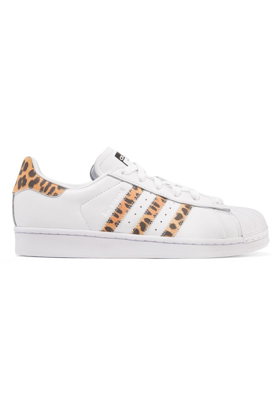Superstar Leopard Print-trimmed Leather Sneakers - White adidas Originals p7NMMLR