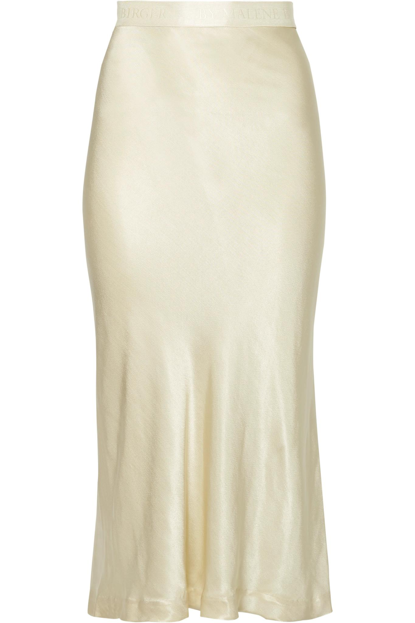 1bfced83a8 By Malene Birger Kimberley Satin Midi Skirt in Natural - Lyst