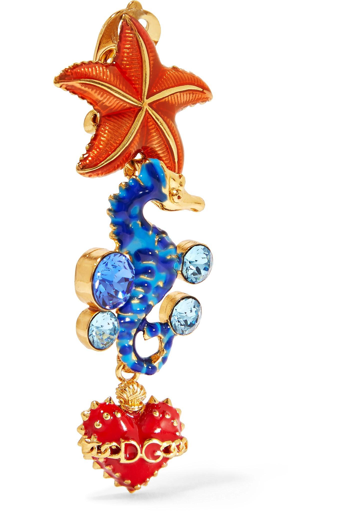 Dolce & Gabbana Gold-tone, Enamel And Crystal Earrings
