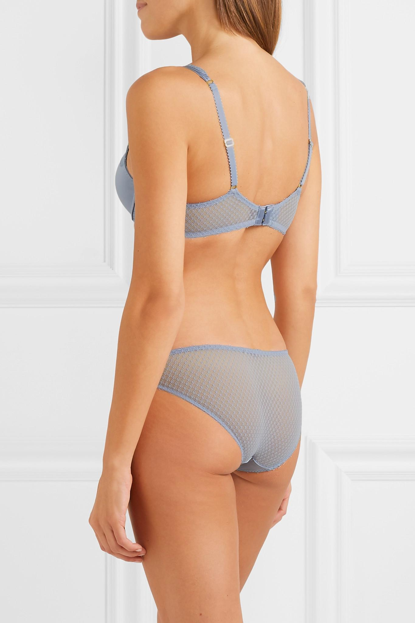Top Quality Online Eloise Enchanting Lace-trimmed Stretch-satin And Mesh Briefs - Sky blue Stella McCartney Cheap Top Quality Sale Real Cheap Sale Great Deals Free Shipping Sale sEEUsMoL