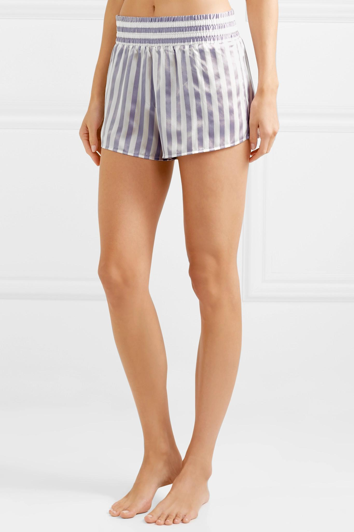 Morgan Lane - Purple Amanda Fatherazi Corey Appliquéd Striped Silk-charmeuse  Pajama Shorts - Lyst. View fullscreen 51bb2780f