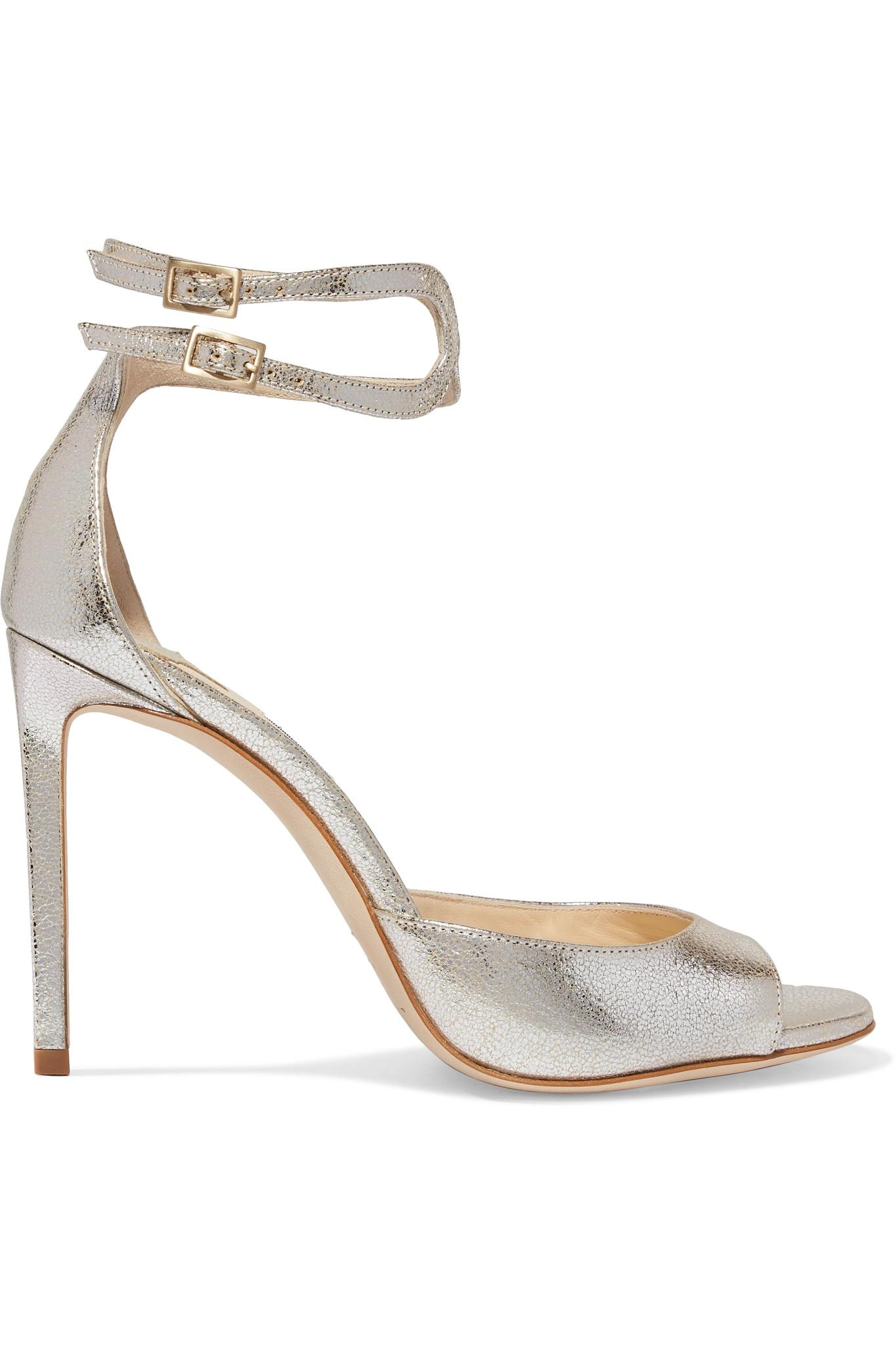 818556f6dfb0 Lyst - Jimmy Choo Lane 100 Metallic Cracked-leather Sandals in Metallic