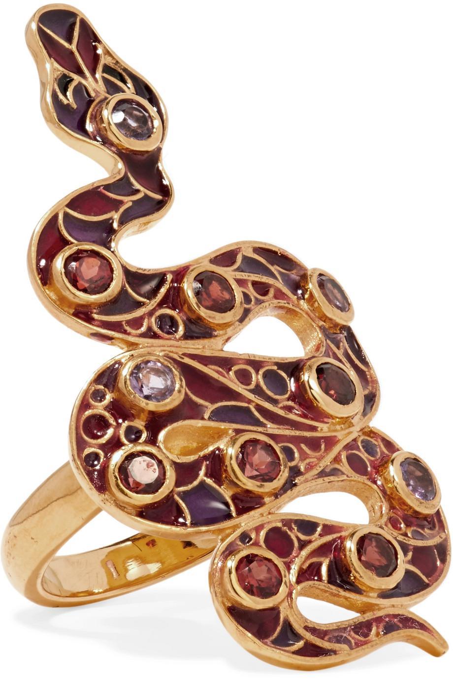 Percossi Papi 9-karat Gold And Enamel Garnet And Amethyst Ring - Purple QpcMsQ1Rz